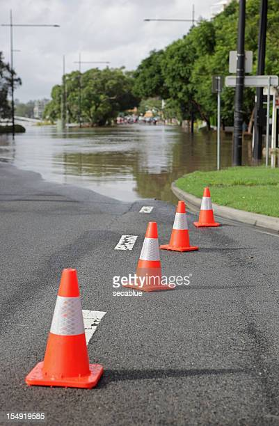 Road cones and flood
