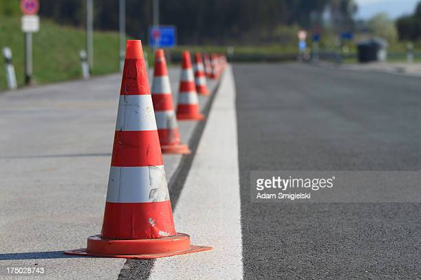 road cones - cone shape stock photos and pictures