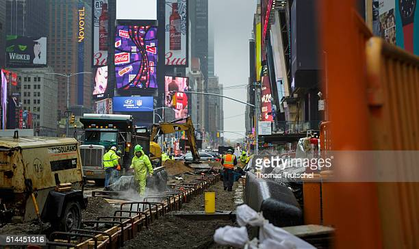 New York United Sates of America February 24 Road construction at Times Square on February 24 2016 in Berlin Germany