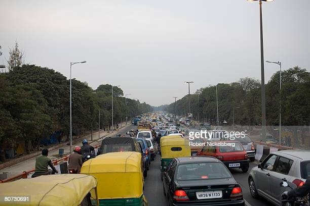 Road construction in New Delhi has not kept pace with economic development and booming car sales February 2 2008 in New Delhi India It's reported...