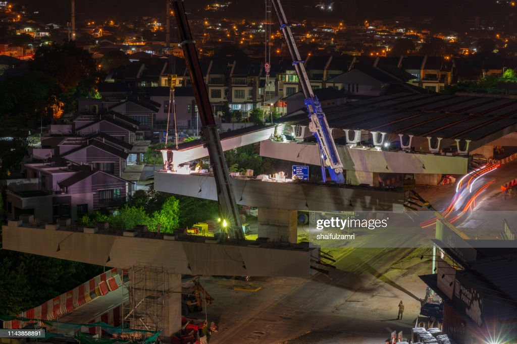 Road construction on progress for elevated highway. : Stock Photo