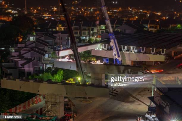 road construction on progress for elevated highway. - shaifulzamri imagens e fotografias de stock