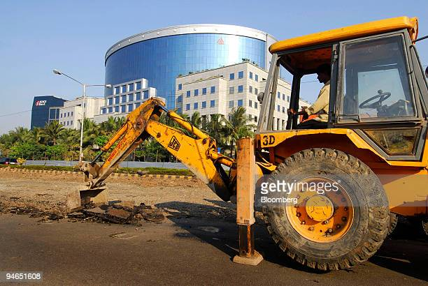 Road construction takes place near the ILFS building one of India's leading infrastructuredevelopment and finance companies in Mumbai India on...