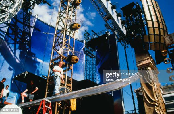 Road crew on the stage set for a concert on the Rolling Stones' 'Bridges To Babylon' worldwide tour 1997