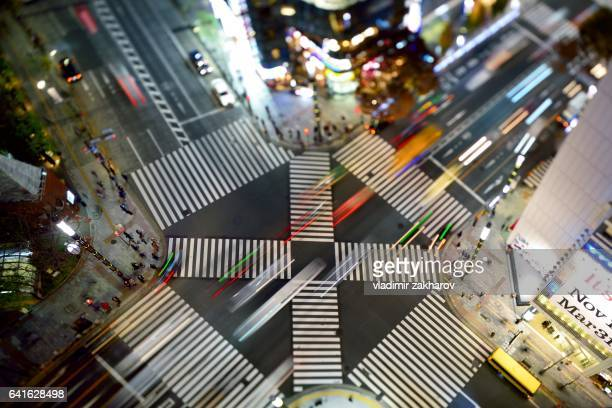 road crossing elevated view - ginza stock pictures, royalty-free photos & images