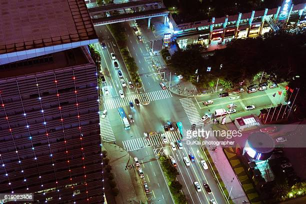 Road crossing overhead view