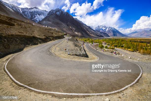Road curve on the way up to the Diskit Monastery, Ladakh, India.