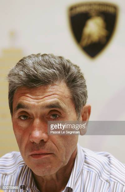 Road cycling legend Eddy Merckx addresses the media during the presentation of the Tour of Qatar 2005 on January 27, 2005 in Doha, Qatar.