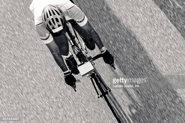 Road cyclist aerial view