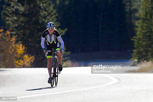 road cyclist girl - vibrant color stock pictures, royalty-free photos & images