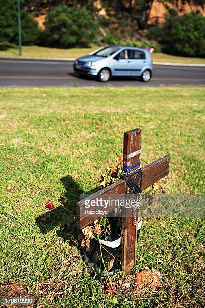 road death - crosses with flowers stock pictures, royalty-free photos & images