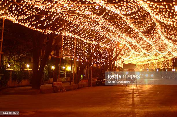 road decorated with lighting - bangladeshi wedding stock photos and pictures