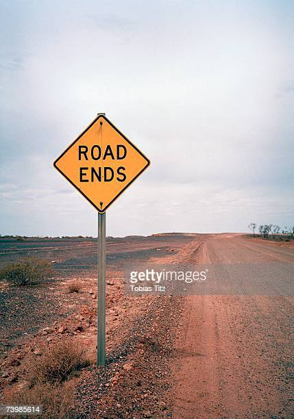road ends warning sign - finishing stock pictures, royalty-free photos & images
