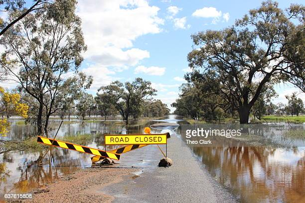 road flooded at condobolin, nsw - flood stock pictures, royalty-free photos & images