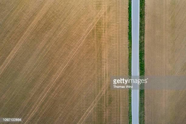 road from above through agricultural fields - image stock-fotos und bilder