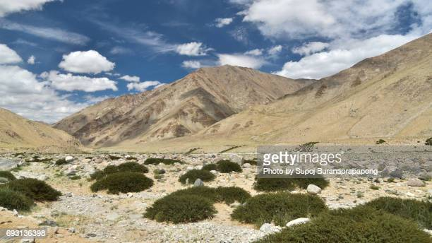 Road going along high mountain lake under blue cloudy sky. Himalaya mountains landscape panorama with Tso Moriri lake. India, Ladakh, altitude 4600 m