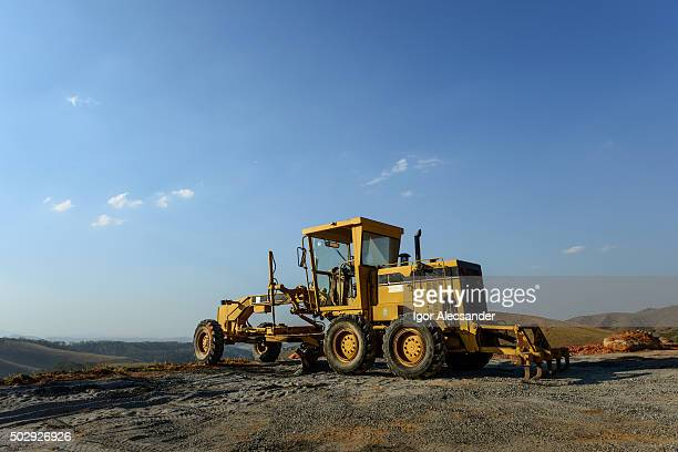 Road grader, construction machine, public street paving work, Rio de Janeiro, Brazil