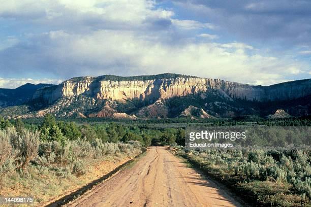 Road Heading Toward Mountain Butte Abiquiu New Mexico