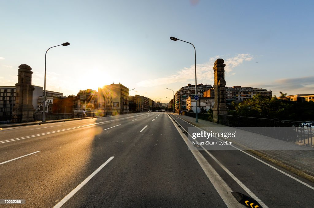 Road In City Against Clear Sky : Stock Photo