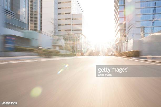 Road in city with sunlight