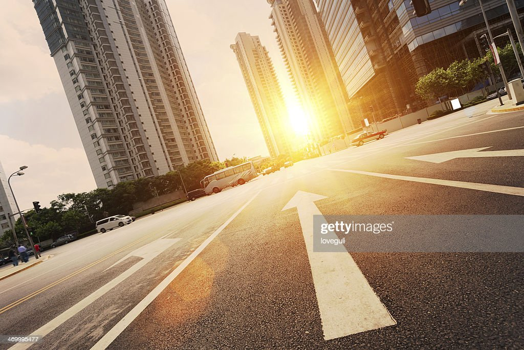 road in city with sunset : Stock Photo