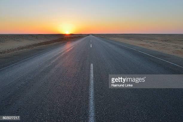 Road in Desert at Sunset