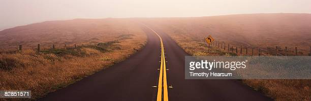 road in fog - timothy hearsum stock photos and pictures