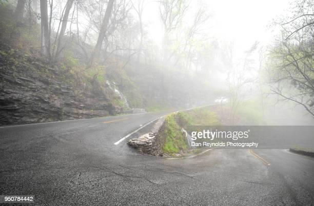 road in fog - dan peak fotografías e imágenes de stock