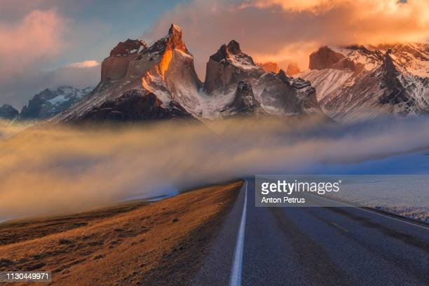 Road in foggy Torres del Paine, Chile