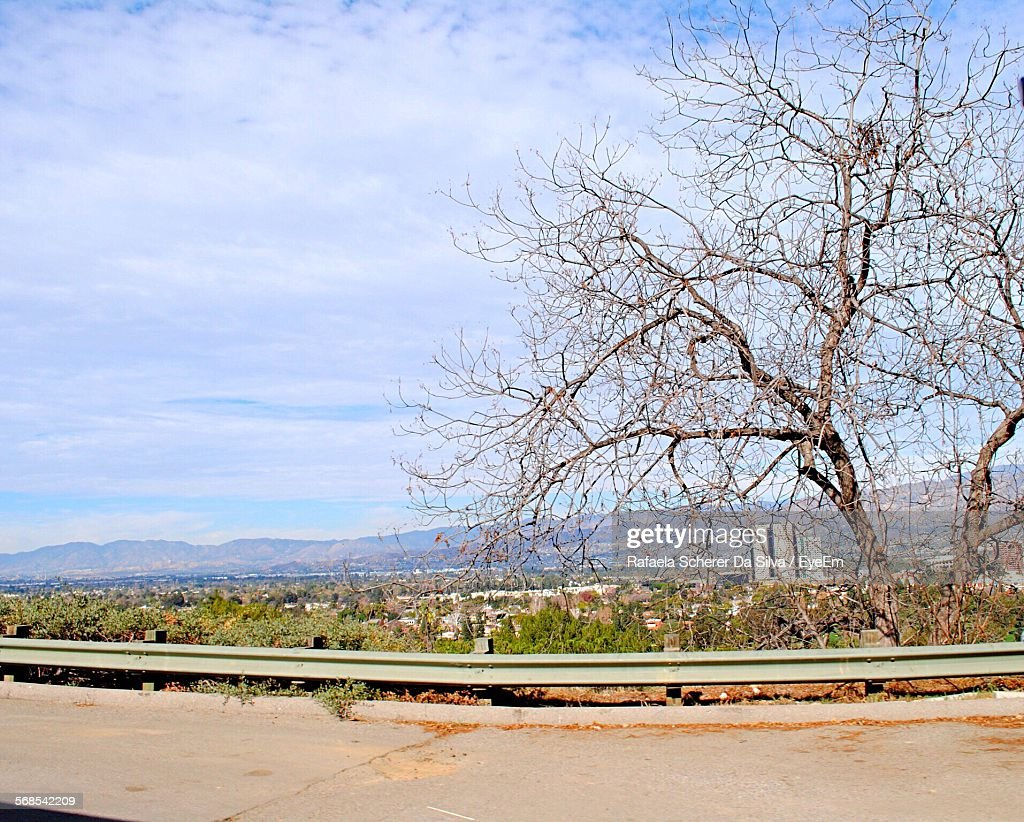 Road In Front Of Bare Trees Against Cloudy Sky : Stock Photo