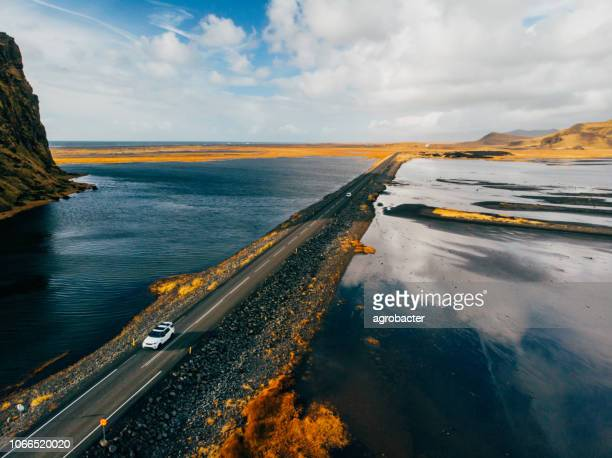 road in iceland by drone - south stock pictures, royalty-free photos & images