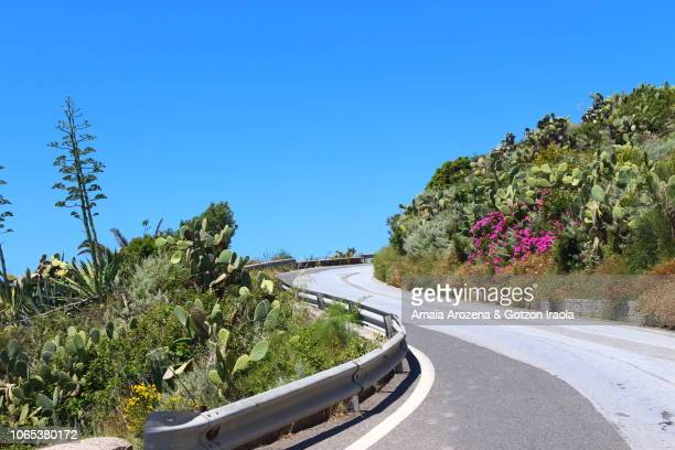 Road in Lipari. Aeolian islands, Italy.