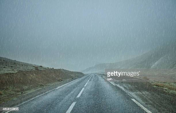 Road in rain, Atlas Mountains, Morocco