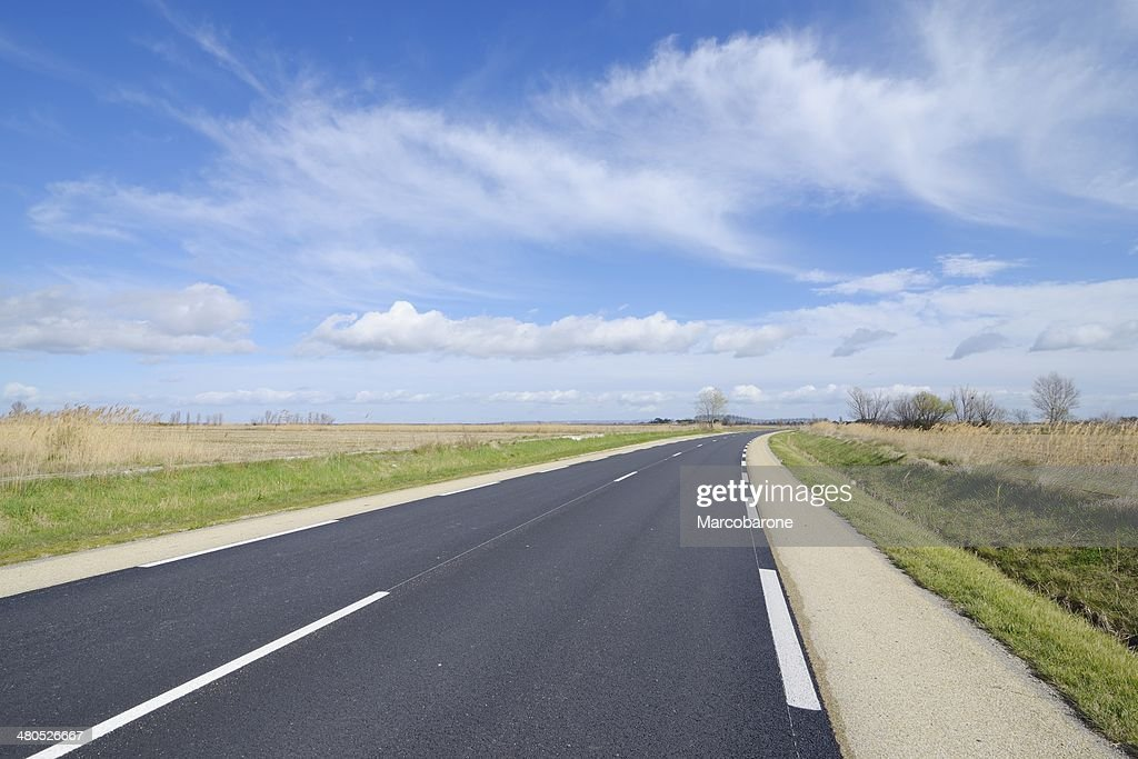 Road in the Camargue, France. : Stock Photo