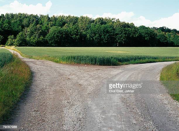 a road in the countryside. - intersection stock pictures, royalty-free photos & images