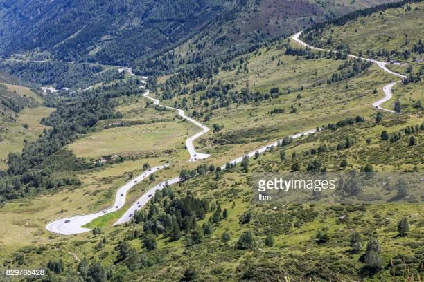 road in the pyrenees of andorra - andorra fotografías e imágenes de stock