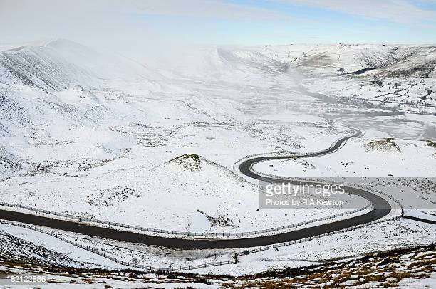 road in the snow - s shape stock photos and pictures