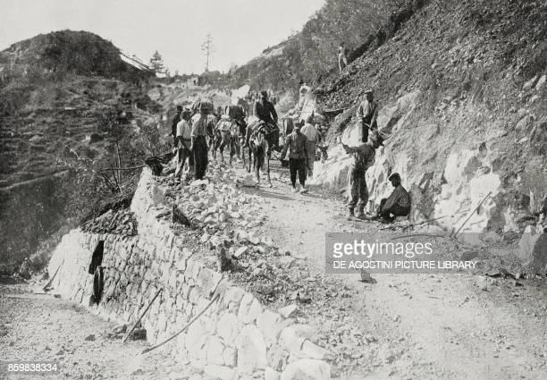 A road in Val Sugana used for towing big artillery pieces in the mountains Italy World War I photo by Aldo Molinari from L'Illustrazione Italiana...