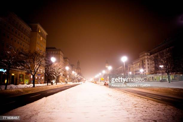 Road In Winter At Night