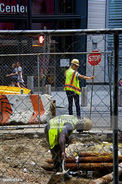 Road, Infrastructure repair workers in Lower Manhattan, New York City