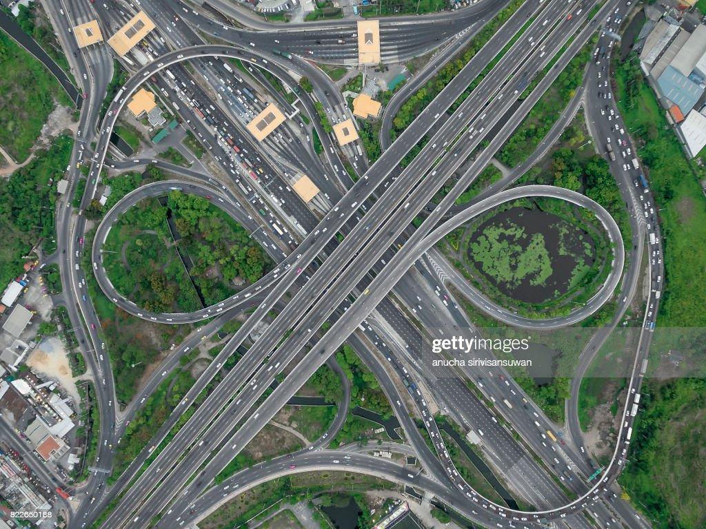road interchange Highway traffic beautiful , Bird Eye View in bangkok , top view , Bangkok , Thailand . : Stock Photo