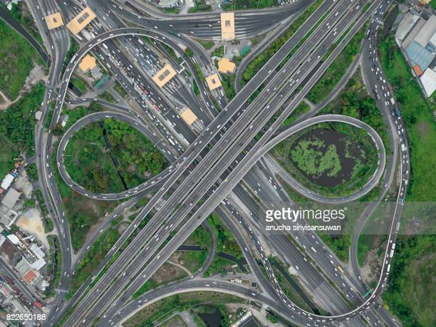 road interchange Highway traffic beautiful , Bird Eye View in bangkok , top view , Bangkok , Thailand .