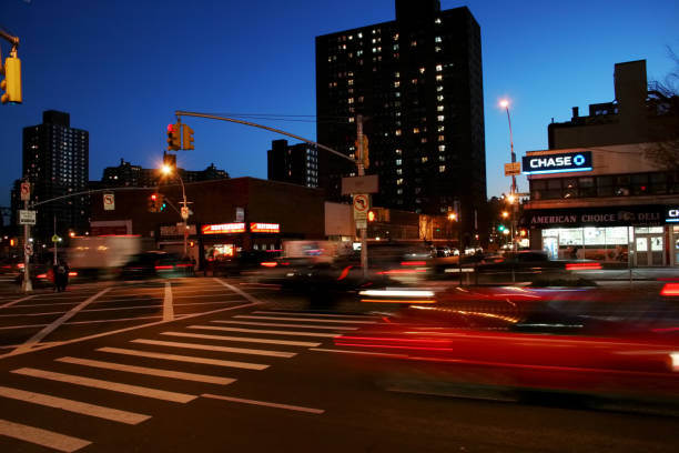 Road intersection at Delancey Street in the Lower East Side, New York City, USA