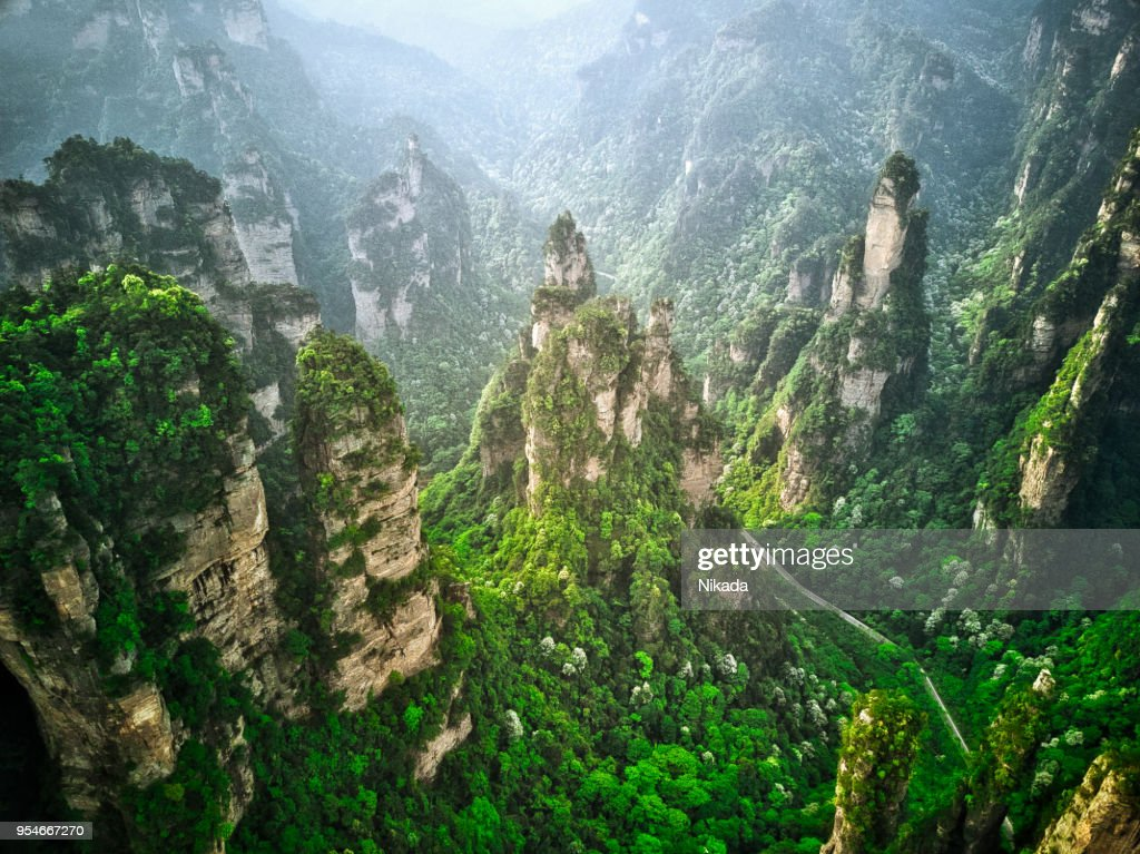 Road into Valley, Mountains in Zhangjiajie, China : Stock Photo