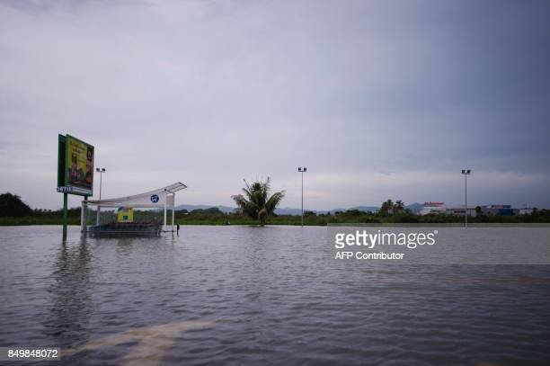 A road is flooded in SaintPierre on the French Caribbean island of Martinique after it was hit by Hurricane Maria on September 19 2017 Martinique...