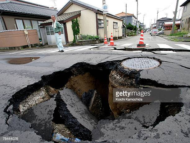 Road is heavily damaged by the by the magnitude 6.8 earthquake on July 17, 2007 in Kashiwazaki, Niigata Prefecture, Japan. Nine people have died and...