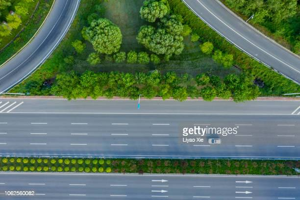 road junction aerial view - 高架道路 ストックフォトと画像