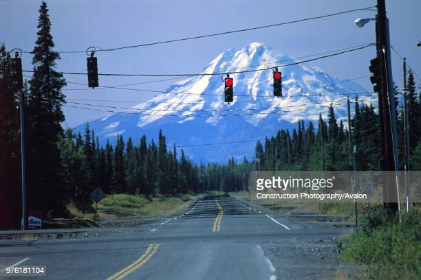 Road junction in wilderness state of Alaska USA