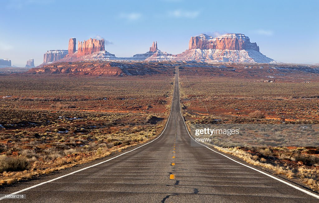 Road lead into Monument Valley : Stock Photo