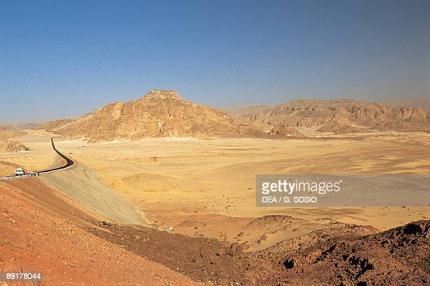 Road leading to a mountain Mt Sinai Sinai Peninsula Egypt